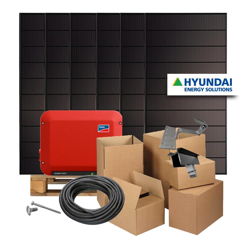 Zonnepanelen pakket op maat met Hyundai Shingled Mono Full Black 345W zonnepanelen